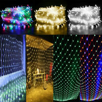 US Outdoor LED String Net Mesh Fairy Lights Curtain Christmas Tree Party House