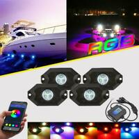 4PCS Under body RGB LED Rock Lights Lamps Multi-Color For Jeep Truck UTV Offroad