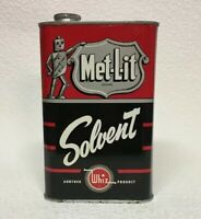 Vintage Whiz Met-L-it Brand Solvent 32 oz. Tin Can NICE METAL ROBOT Oil Gas Shop