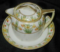 OLD NORITAKE NIPPON HAND PAINTED PORCELAIN SYRUP PITCHER w UNDERPLATE, FLOWERS