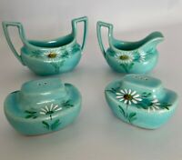 Vallona Starr California Cream Sugar Salt Pepper Set 1960 Turquoise Aqua Daisies