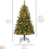 Beautiful 4.5 ft Pre-Lit Spruce Christmas Tree with 200 Warm White Lights