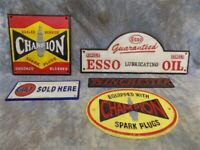 5 Cast Iron Advertising Signs Champion Esso Oil Gulf Winchester Mancave Garage d