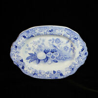 Staffordshire Childs Blue Platter NIGHTINGALE Davenport 1838 Bird Transferware