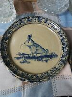 Becky Mummert Bluestone Glazed Pottery Dinner Plate 9 In rabbit animal pattern