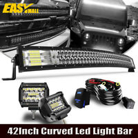 42INCH 540W CURVED TRI-ROW LED LIGHT BAR + WIRING KIT TRUCK OFFROAD 4WD ATV 40