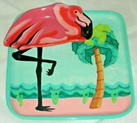 Signed LANZ RUSSELL Pottery Pink Flamingo Chip & Dip 3D Pink & Turquoise Tray