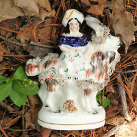 Staffordshire Toy Figure Young Queen Victoria with Pet Goat Pearlware c1860