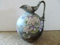 NIPPON HAND PAINTED MORIAGE PITCHER - FLOWERS - HIGH RELIEF