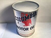 Vintage Columbia Oil Can FULL NOS Quart gas rare Unopened handy Veedol Fisk Whiz