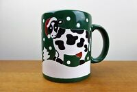 Vintage Waechtersbach Mug Green with Christmas Cow Spain EXC