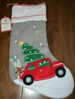 Pottery Barn Kids Gray Car Quilted Christmas Tree Stocking NEW! NO MONOGRAM!
