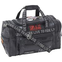 Black 17quot; Leather Travel Duffle Bag Mens Overnight Motorcycle Carry On Suitcase