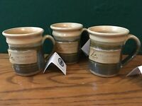Set of 3 NEW Hand Thrown Rustic 12 oz Coffee Mugs Signed Green Earth Outdoors