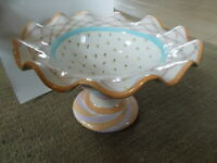 MacKenzie Childs Victoria Richard Ruffled Fluted Pedestal Compote Bowl 1989
