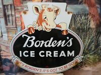 LARGE VINTAGE 1957 BORDEN'S ICE CREAM PORCELAIN ADVERTISING SIGN COW