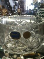 VINTAGE BOHEMIAN HAND CUT  CRYSTAL BOWL VASE with Label MUST SEE !!!