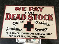 RARE VINTAGE OLD BUY DEAD STOCK FARM CATTLE SIGN EMBOSSED METAL COW VIRGINIA