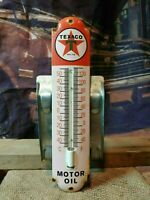 VINTAGE 1950'S TEXACO MOTOR OIL THERMOMETER PORCELAIN GAS SIGN WORKS!!