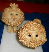 Whimsical Mid Century Studio Art Pottery Lions Figures Sitting w Crown Signed