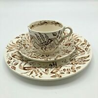Antique 3 Pc Brown Transferware Cup amp; Saucer Plate Allerton Staffordshire Ribbon