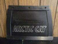 vintage Arctic Cat snow flap 90s silver embossed lettering used 20x14 black