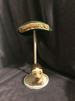 VINTAGE Hat HOLDER with Paper Mache Head Unique Store Display wearing a Hat
