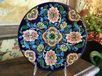 Antique French Faience Emaux De Longwy Porcelain Plate Hand Decorated