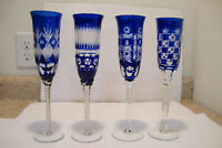 4 Cobalt Blue Cut To Clear Champagne Glasses Flute Bohemian Crystal AJKA ? Set