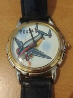 Fossil Airplane Watch Twin Tail Hand Painted Vintage Collectible LE-9400