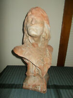 COMANCHE POTTERY CO TEXAS NATIVE AMERICAN INDIAN BUST SCULPTURE UNKNOW CHIEF