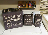 Laundry Room Advertising Tins Washing Powder Starch Lye Soap Farmhouse Decor