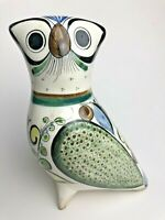 LARGE OLD VINTAGE MEXICO TONALA ART POTTERY HAND PAINTED SIGNED OWL