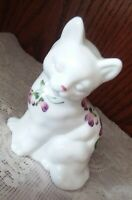 Fenton Cat White Purple Violets in the Snow Figurine Pansies M Nichols Sitting
