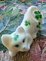 Fenton Cat Kitten White Shamrock Irish Figurine Treasures St Patricks Crouching
