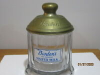 BORDEN'S GLASS MALTED MILK CANISTER  CONTAINER WITH EMBOSSSED METAL LID