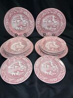 10 Staffordshire Engravings Wild Rose Pink RED Transferware Dinner Plates Bowls
