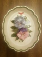Vintage Cleminson California Pottery Pansy Flower Oval Wall Hanging