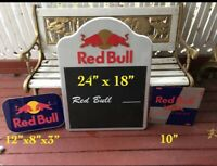 3 Red Bull Signs Lighted  Bar Sign Erasable Menu Message Board Metal Sign