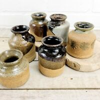 STUDIO POTTERY Mini Bud Vase Collection Set Of 6 Hand Thrown Stoneware Marked