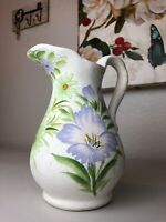 Blue/Green Floral Pitcher by Hosley Pottery Hand Painted Large Ceramic Ki