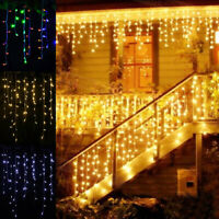 LED Hanging Icicle Curtain Lights Outdoor Garden Fairy Party String Wedding Lamp