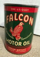 Vintage NOS Falcon One Quart Metal Motor Oil Can Gas Service Station Hollis OK