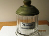 BORDEN'S GLASS MALTED MILK CANISTER WITH PORCELAIN  LABLE AND EMBOSSED METAL LID