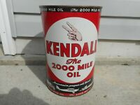 Vintage NOS FULL KENDALL 2000 MILE 5 QUART Gas Station MOTOR OIL Advertising Can