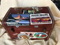 Vintage Samsonite Travel Case Luggage w World Country Stickers
