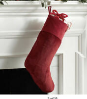 NWT Pottery Barn Faux Fur Plush Christmas Stockings RED  Free Shipping!