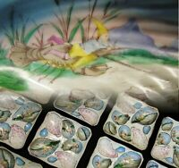 Set of 10 Antique Hand Painted Oyster Plates BSM Austria Gnome on Lobster/Knife