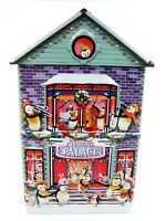 PENGUIN PALACE Christmas Embossed Metal Tin House Building Village Container