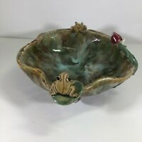 Vintage Planter Frog Majolica Style Lily Pad Art Pottery Bowl